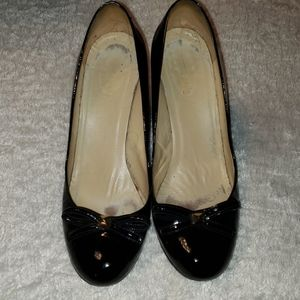 Kate Spade black patent wedges women's size 9